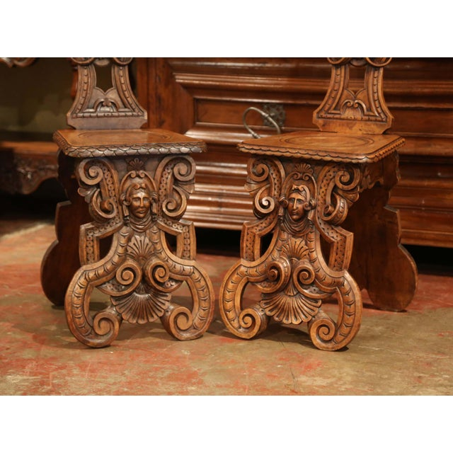 Wood Pair of 19th Century Italian Renaissance Carved Walnut Sgabello Hall Chairs For Sale - Image 7 of 13