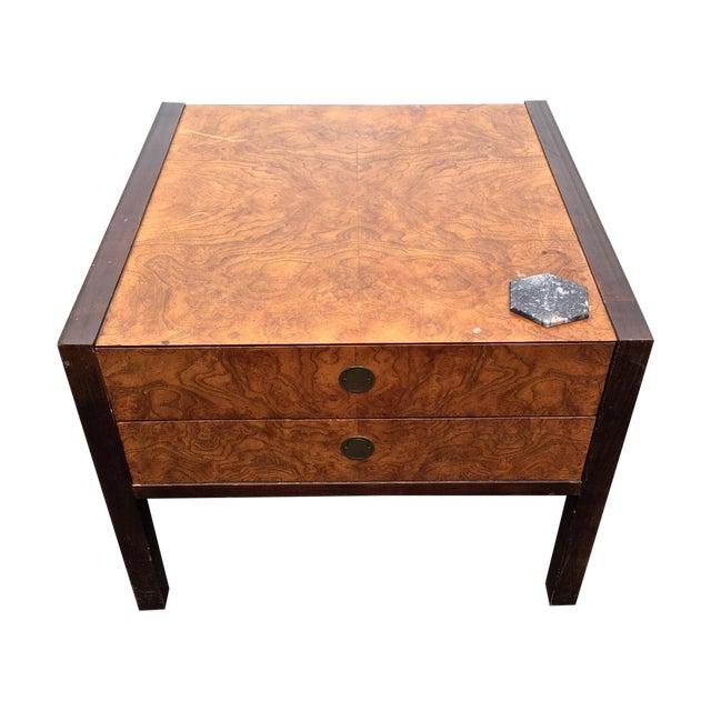 Burl Wood & Mahogany 2 Drawer Side Table - Image 1 of 10