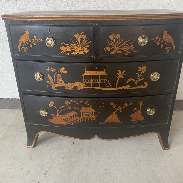 English bowfront chest. 1800 chinoiserie painted finish. One of a kind piece.