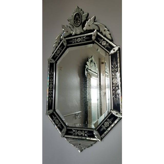Silver Vintage Mid-Century Venetian Style Black Banded Mirror For Sale - Image 8 of 12