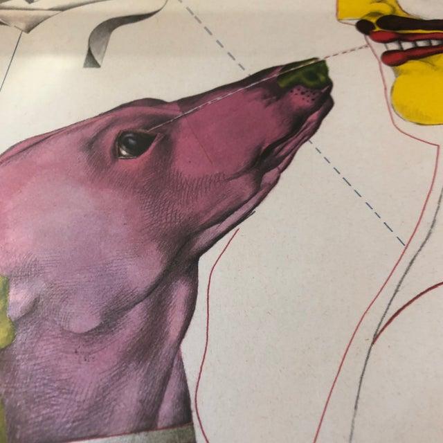 Richard Lindner 1960's Surrealist Lithograph Man & Dog Signed Framed For Sale - Image 4 of 7
