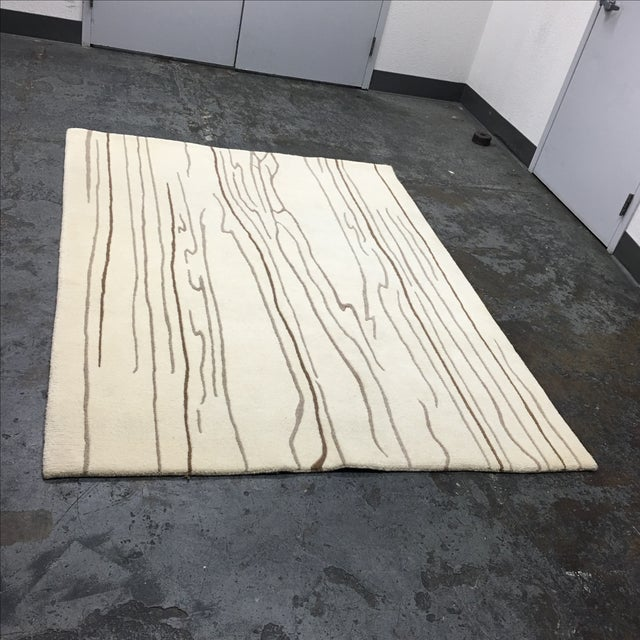 """Wool Rug With Wood Design Motif - 4'9"""" X 7'5"""" - Image 3 of 5"""