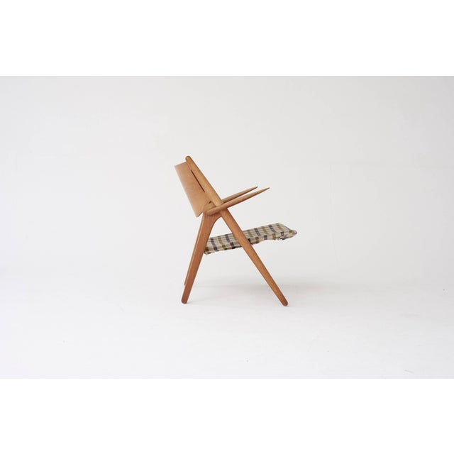 Brown Hans Wegner Ch28 Oak Sawbuck Armchair, 1950s, Denmark For Sale - Image 8 of 8