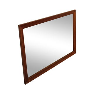 Vintage Solid Cherry Wood Frame Rectangular Wall Mirror For Sale
