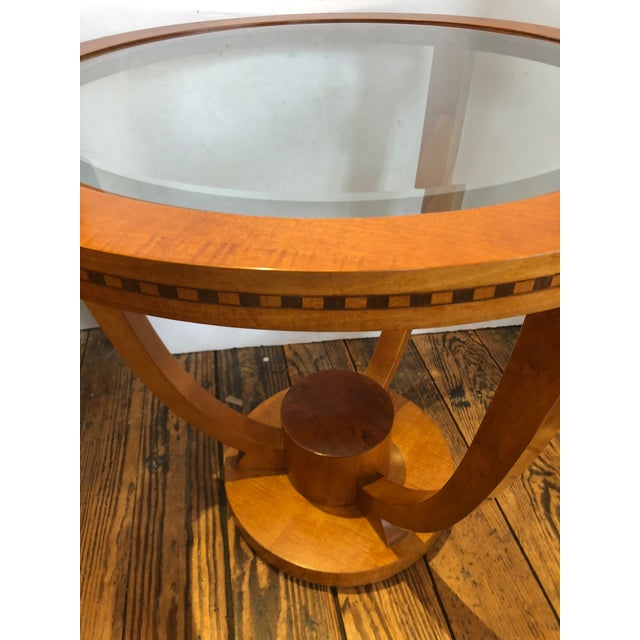 Art Deco Wood and Bevelled Glass Round End Table For Sale In Philadelphia - Image 6 of 7
