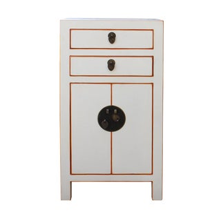 Chinese Off White Lacquer Side End Table Nightstand