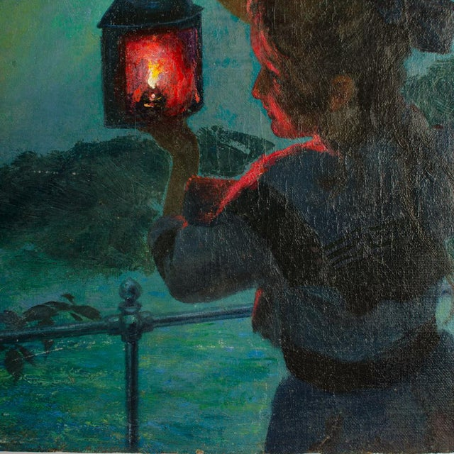 "Early 20th Century ""Girl with Lantern"" Figurative Oil Painting by Otto Toaspern For Sale - Image 4 of 11"
