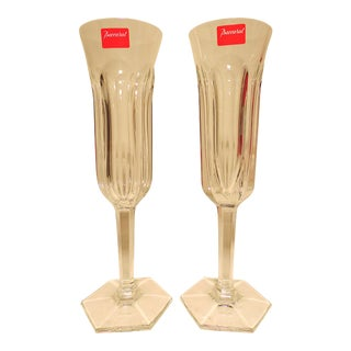 1990s Baccarat Crystal Malmaison Pattern Champagne Flutes - a Pair For Sale