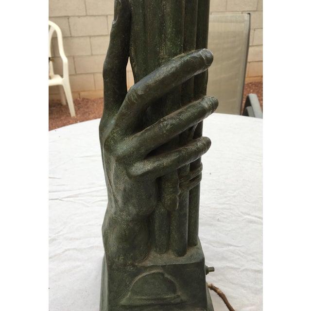 Casandri & Gattai Antique Bronze Hand Sculpture Lamp Cast by Roman Foundry - Image 7 of 11