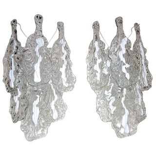 1960s Vintage A.V. Mazzega Murano Textured Glass Sconces - A Pair For Sale