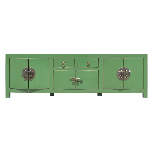 Chinese Distressed Medium Dark Moss Green Low Tv Console Table Cabinet For Sale