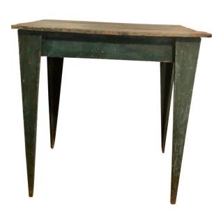 Antique Early Original Blue Paint Rustic Side Table For Sale