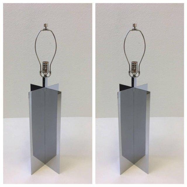 Mid-Century Modern Polished Aluminium Table Lamps by Paul Mayen for Habitat - A Pair For Sale - Image 3 of 10
