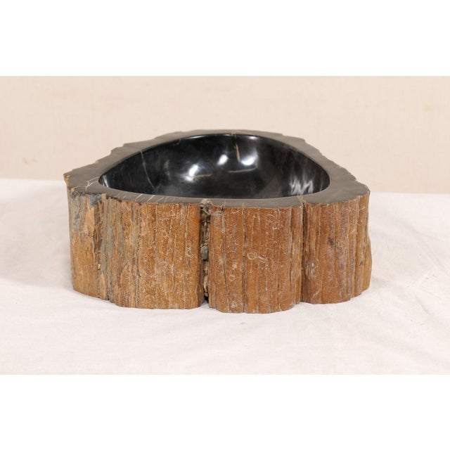 Black and Brown Polished Petrified Wood Sink For Sale - Image 9 of 10