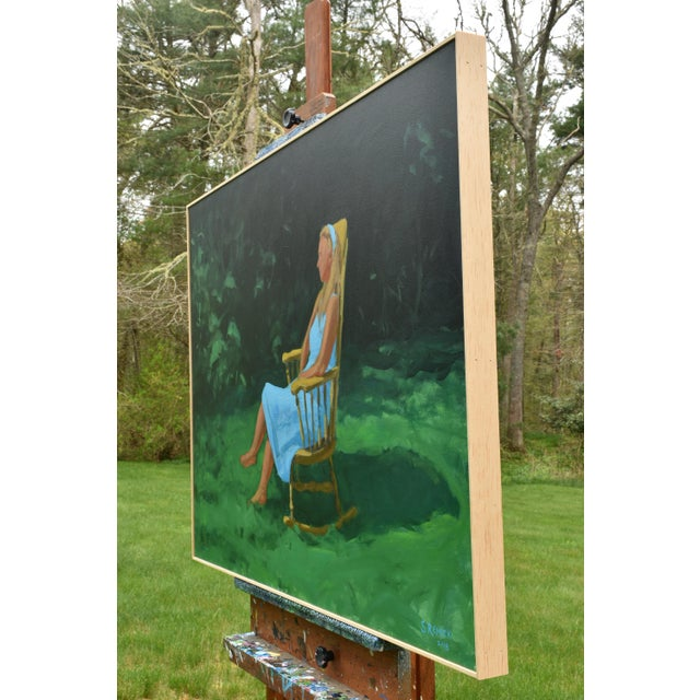 Painting of a Woman Sitting in a Rocking Chair Outside For Sale - Image 9 of 12