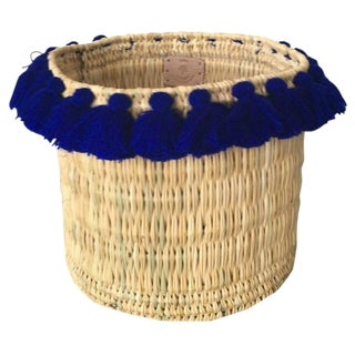 Moroccan Large Cobalt Blue Tassel Basket For Sale