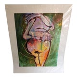 Image of 1970s Vintage Ellen Reinkraut Abstract Female Nude Oil on Paper Painting For Sale