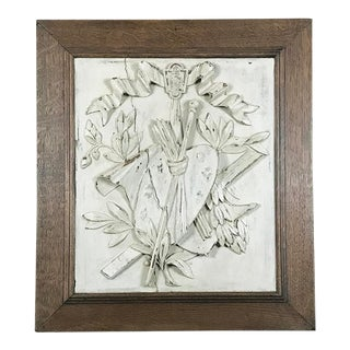 19th Century Framed Hand-Carved & Painted Wood Plaque For Sale