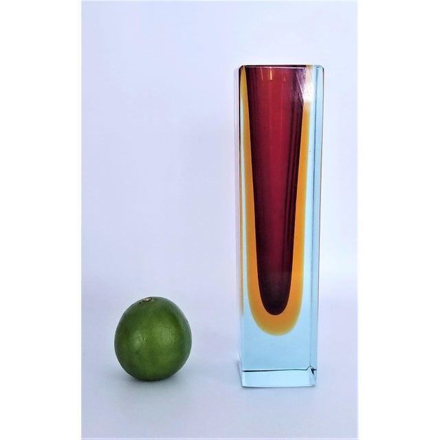 1970s Murano Blue Red and Yellow Glass Vase by Mandruzzato For Sale - Image 10 of 12