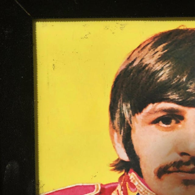 Antique Large Ornate Victorian Mirror W/ the Beatles Sgt Peppers Print For Sale - Image 4 of 9