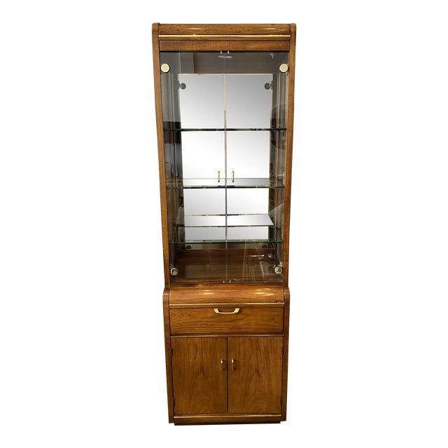 Thomasville Oak and Brass Light Up Display Cabinet For Sale