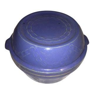 Blue Earthenware Cooking Crock & Lid