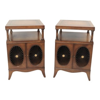 Weiman Mahogany & Leather Top End Tables - a Pair