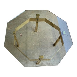 1970s Mid-Century Hexagonal Brass & Glass Coffee Table For Sale