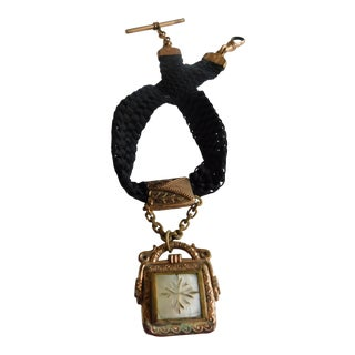 Antique Gold-Filled Agate & Mother of Pearl Watch Fob on Black Woven Ribbon