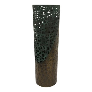 Metal Cut Copper Verdigris Candleholder For Sale