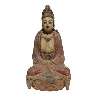 Vintage Handcrafted Chinese Distressed Finish Wood Bodhisattva Statue For Sale