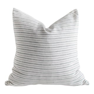 European Natural and Blue Gray Stripe Linen Pillow Cover For Sale