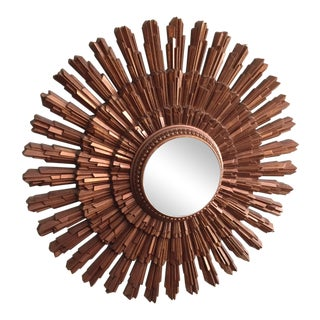 1960s Mid-Century Modern Bronze Sunburst Mirror For Sale