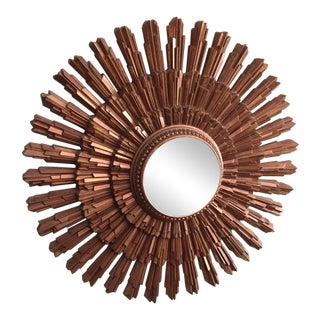 1960s Scandinavian Modern Bronze Sunburst Mirror