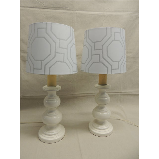 Mid-Century Modern White Lamps - Pair - Image 3 of 4