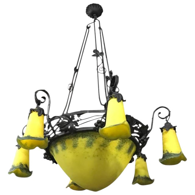 French Art Deco Yellow and Black Chandelier For Sale