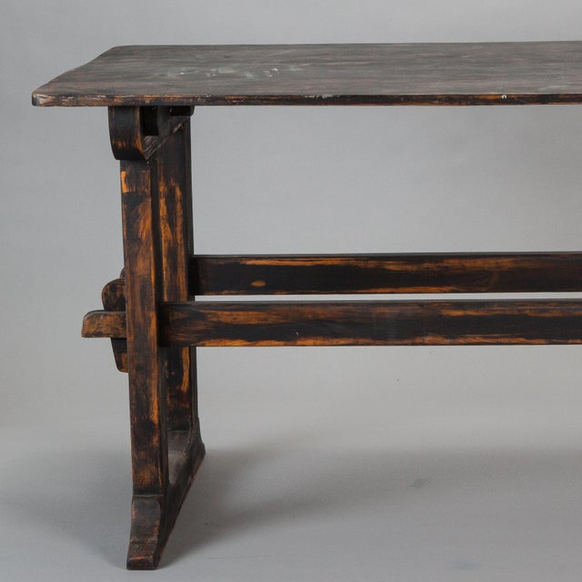 18th Century Swedish Trestle Table with Black Finish For Sale In Detroit - Image 6 of 7