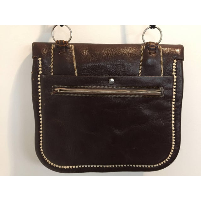Late 20th Century Cross Body Leather African Berber Tribal Moroccan Bag For Sale - Image 5 of 10