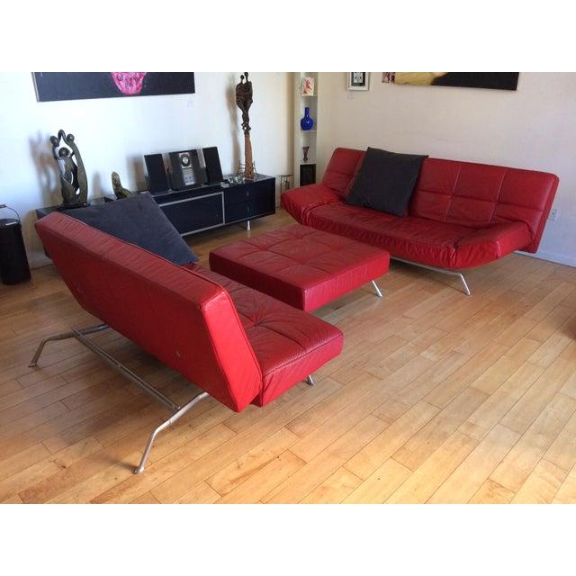 "Red Ligne Roset ""Smala"" Sofa Set & Pillows - Set of 3 For Sale - Image 8 of 8"