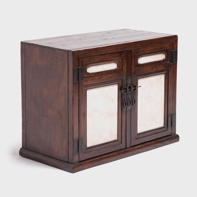 Mid 18th Century 18th Century Chinese Chest With Marble Paneled Doors For Sale - Image 5 of 7