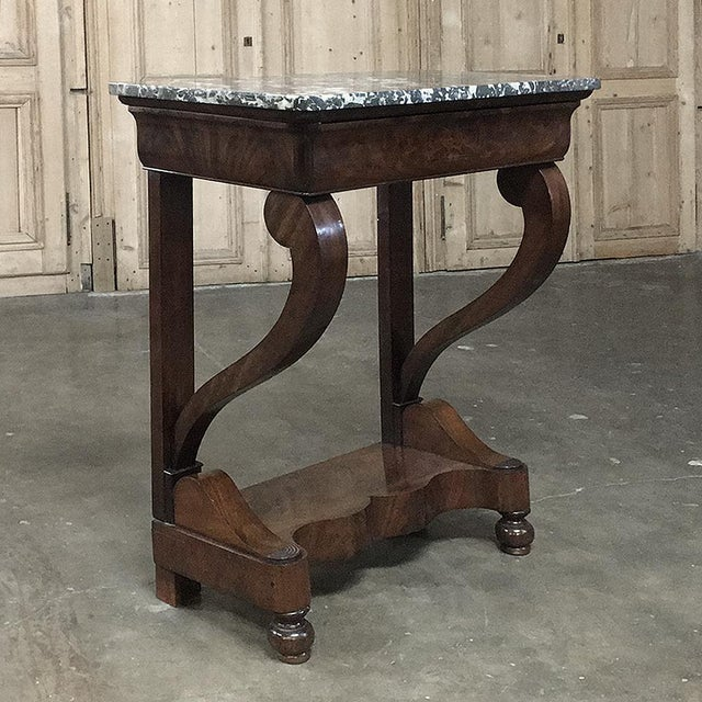 19th Century French Louis Philippe Mahogany Marble-Top Console For Sale - Image 11 of 11