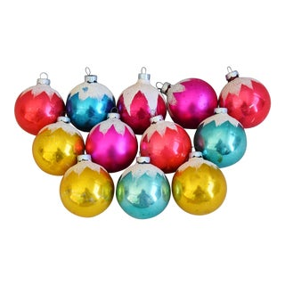 Festive Vintage Colorful Christmas Ornaments W/Box - Set of 12 For Sale