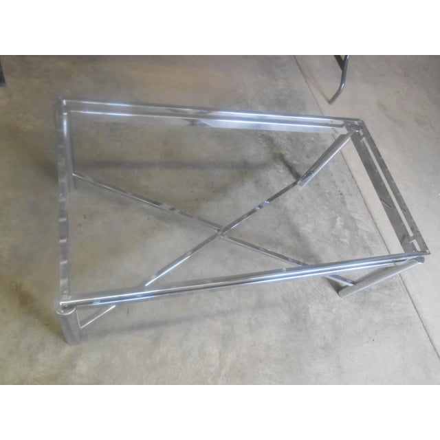 Glass Vintage Mid-Century Modern Chrome & Floating Glass Top Coffee Table For Sale - Image 7 of 9