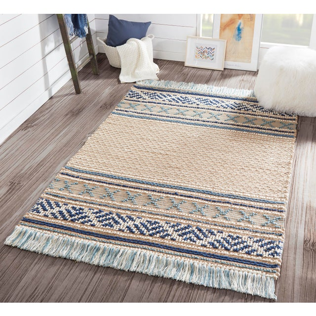 Fiber Esme Blue Hand Woven Area Rug 8' X 10' For Sale - Image 7 of 8
