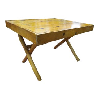 Vintage Mid Century Modern Hand Crafted Pine Dining Table For Sale