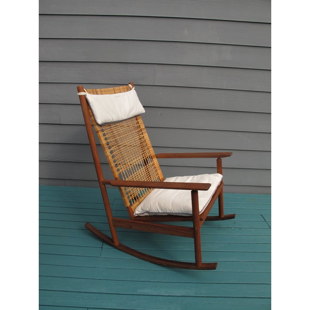 Vintage teak and woven rocking chair by Hans Olsen. Purchased from the original owner.
