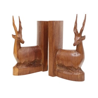 Hand Carved Antelope Wood Bookends - Pair