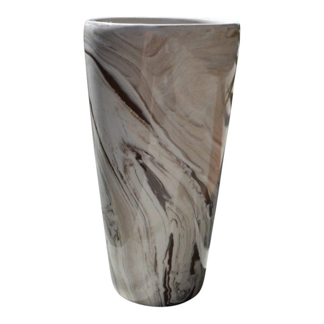 Marbled White & Brown Vase For Sale