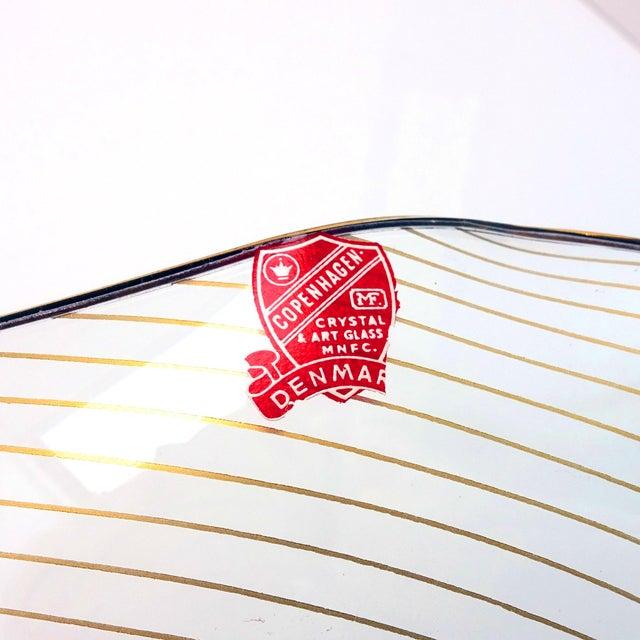 Art Glass 1960s Op Art Mf Crystal Denmark Gold Filagree Spiral Bent Glass Platter For Sale - Image 7 of 8