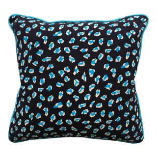 Blue Leopard Print Pillows